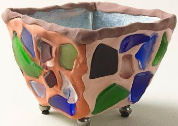 Sea Glass Planter - crafted with a compound called Crayola Model Magic® Fusion™. Just press the sea glass into it and let it dry.