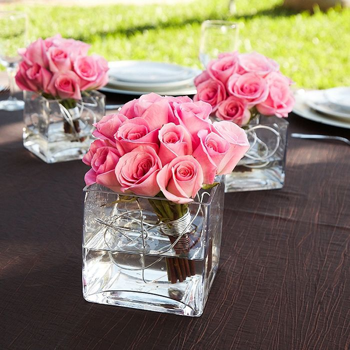 Pink Rose Centerpieces W Silver Wire Maybe Black Instead With Tea Lightore
