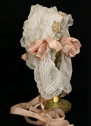 Hand embroidered baby bonnet, c.1900, from the Vintage Textile archives.