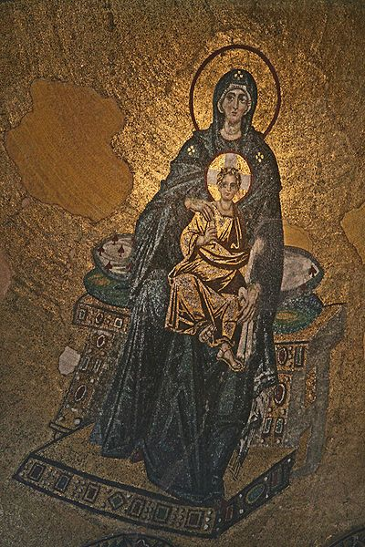 Hagia Sophia Interior Virgin.his was the first of the post-iconoclastic mosaics. It was inaugurated on 29 March 867 by Patriarch Photius and the emperors Michael III and Basil I. This mosaic is situated in a high location on the half dome of the apse.