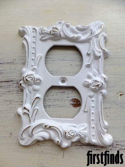 1 shabby chic rose electrical outlet covers vintage metal hardware wall decor plug plate