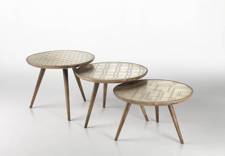 tavolini in legno e ottone