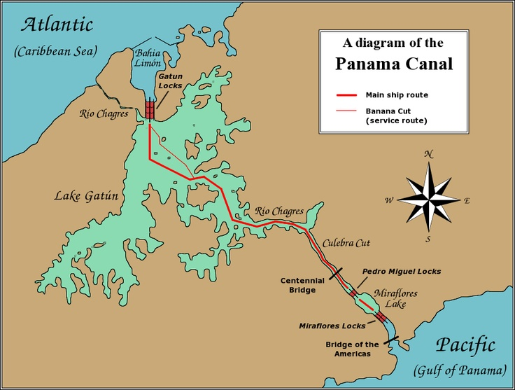 a history of the panama canal a waterway between the pacific ocean and the atlantic ocean The panama canal (spanish: canal de panamá) is an artificial 82 km (51 mi)  waterway in panama that connects the atlantic ocean with the pacific ocean   main article: history of the panama canal  an all-water route between the  oceans was still seen as the ideal solution, and in 1855 william kennish, a manx- born.