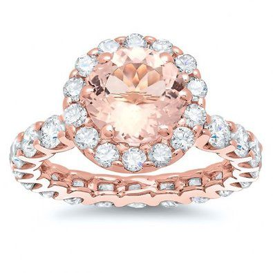 Rose Gold Round Cut Morganite And Diamond Engagement Ring