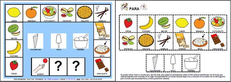 MATERIALES - Quiero un helado de...  Tablero de comunicación para elegir el tipo de helado que deseamos tomar.  http://arasaac.org/materiales.php?id_material=1060