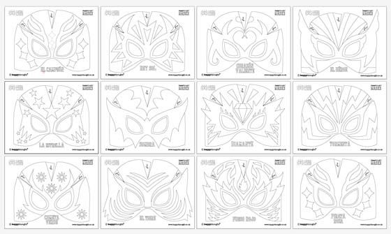 12 lucha libre mask ideas. Black and White templates!