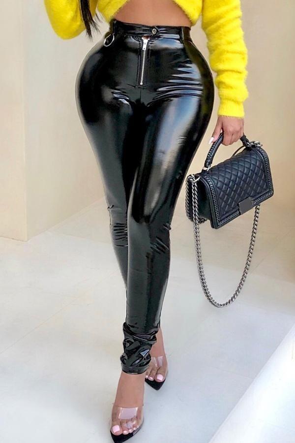 2cf781663505c4 Fashion Zipper Red PU Skinny Pants in 2019 | PANTS | Leggings are ...