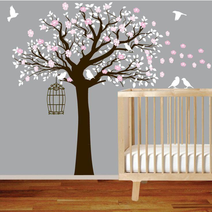 Flower Tree Vinyl Wall Decal Tree with Birds Nursery wall sticker decal. $99.00, via Etsy.