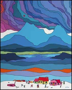 Ted Harrison (Kinder/First Grade Glue/Chalk landscapes)