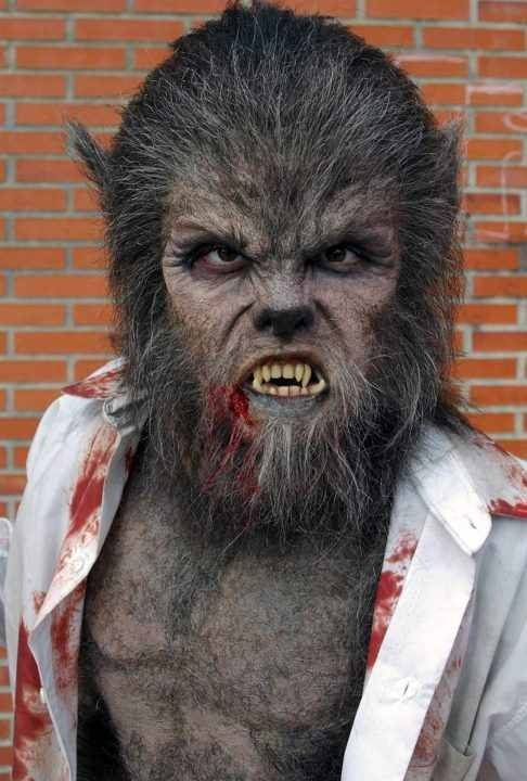 This is a very full on werewolf look. A silicone of foam latex piece could be applied here, crepe hair could be laid or a lace hair appliances pre made and stuck on. I don't want my wolf to look like this, however I do like elements like the amount of hair and the snarl that he has.