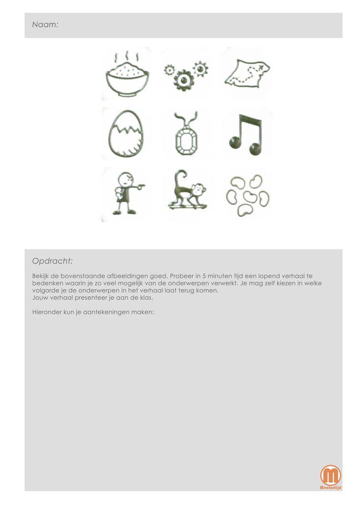 storycubes : a.d.h.v. een aantal afbeeldingen gaan de lln. een verhaal 'spelen' (6 verschillende werkblaadjes)