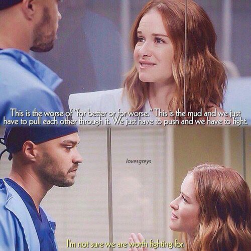 OK SO IM GONNA RANT HERE WHEN APRIL SIGNED THE DIVORCE PAPERS JACKSON ALMOST STARTED TO CRY AND APRIL WAD PREGNANT AVERY WAS FIGHTING BUT HE WAS BEING SELF ABSORBED AND WOULDN'T GIVE APRIL A CHANCE BC HE WASENT TRYING HARD ENOUGH BUT  IN S12 e19 HE EXPRESSES HOW HE REALLY FELT AND BASICALLY SAID IM NOT GOING TO MOVE ON SO YA THEY WILL B TOGETHER JACKSON NEEDS TO LIVE ON MARKS FUTURE ! - Bridget