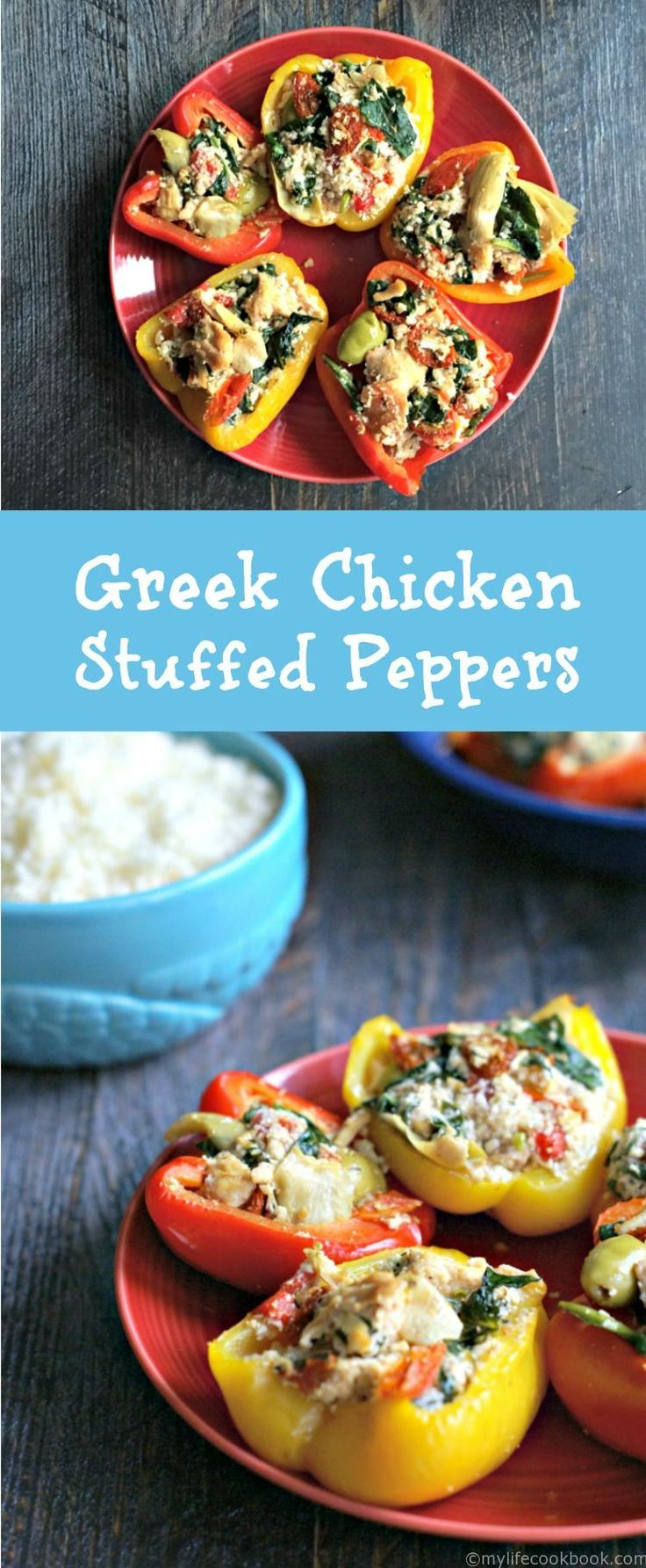 These Greek chicken stuffed peppers are an easy yet delicious meal that is low carb and Paleo too. A healthy meal under 30 minutes!