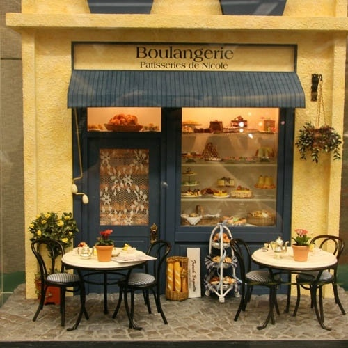 Cute Mini Cafe Dolls House Shop French Bakery Store Fronts