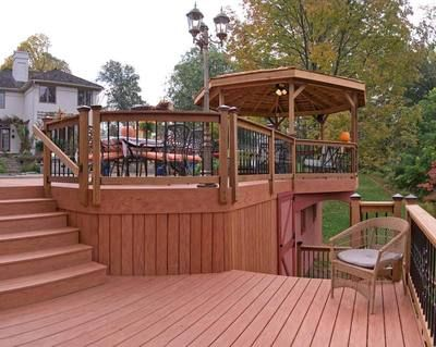 Best 25 tiered deck ideas on pinterest deck 2 level for Deck with gazebo