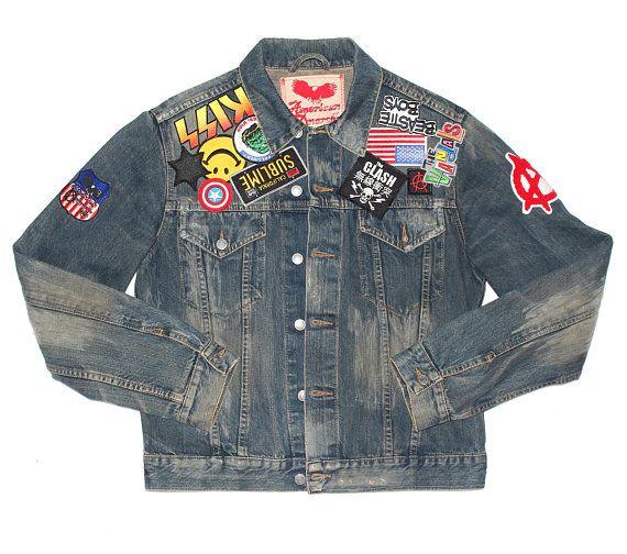 Punk Trucker Denim Jacket W Patches X Unisex Jean Jacket X Etsy Denim Jacket Denim Jacket Patches Jackets