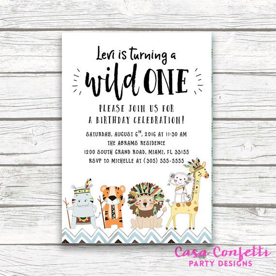 Wild One Tribal Safari Animal First 1st Birthday Invitation Jungle Baby Boy Blue Hipster Printed Or Printable