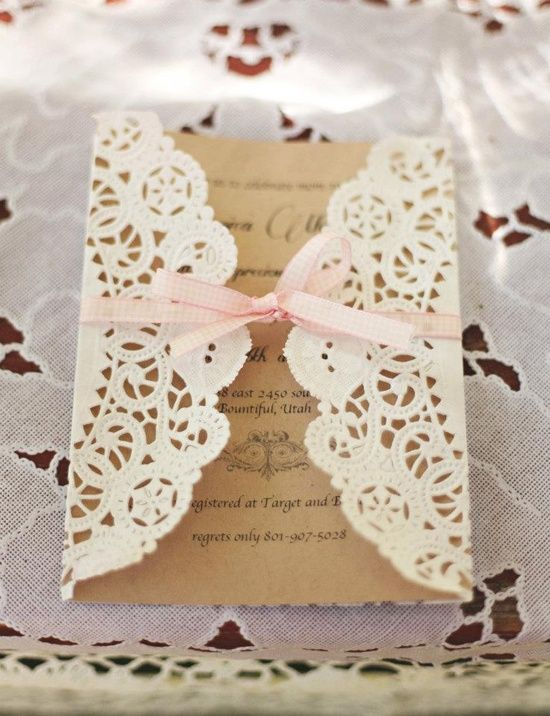 My favorite invite and would be crazy easy. Use pink instead of natural cardstock and tie with twine.