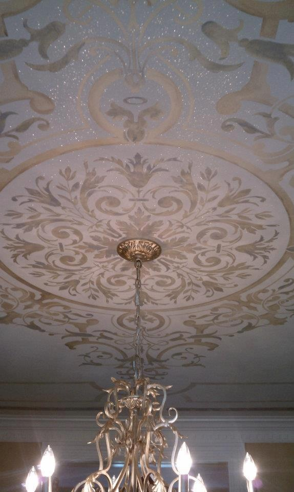 Gorgeous stenciled ceiling by Gina Wolfrum featuring a custom Modello® Design masking stencil, handpainted elements and a little pixie dust, too! :)