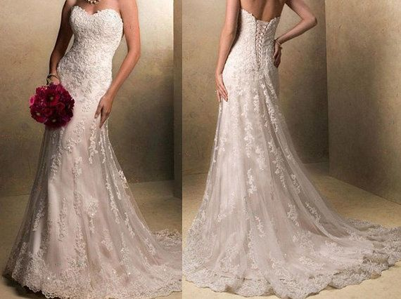 The latest fishtail wedding dress lace bridal gown by VEILDRESS