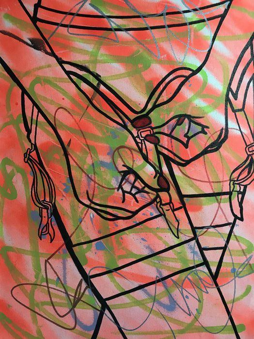 """Dillon Boy - Graffiti Girl - 50 tinten van roze  Artiest: James Dillon Wright aka Dillon Boy (VS 1979)Artwork: Origineel schilderij op doek. Gemaakt met verf acryl en pennen van de olie op doek.Titel: 50 tinten van rozeJaar: 2017Stijl: Pop Art/Urban artGrootte: 17 """"x 23"""" / 4318 cm x 5842 cmGesigneerd en Serial genummerd door kunstenaarAftekeningen: ondertekend en seriële nummers achterop. Wordt geleverd met certificaat van ECHTHEID.Nooit opgehangen. Beschermd tegen zonne-licht.Frame niet…"""