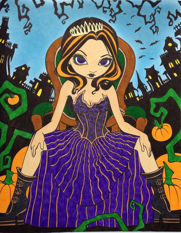 Queen of Halloween. Jasmine Becket-Griffith. Colouring Heaven Halloween Special. Coloured by ...