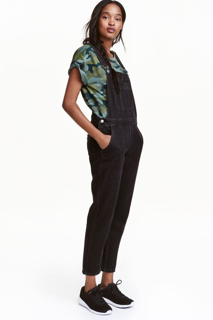 Denim dungarees: Dungarees in washed denim with adjustable straps with metal…