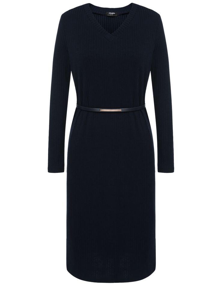Navy blue New Women Casual V-Neck Long Sleeve Solid Pullover Side Split Knit Dress with Waist Belt