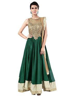 Ks Couture Green N Beige Floor Length Anarkali