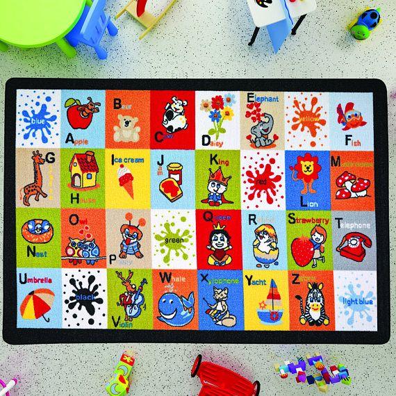 Antdecor Letter Blocks Design Kids Rugs Anti Slip Anti