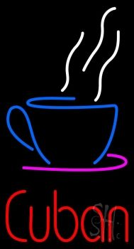 Cuban With Coffee Cup Neon Sign