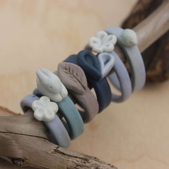 In time for easter - porcelain bunny ring by purplepetunia on Etsy, $18.00