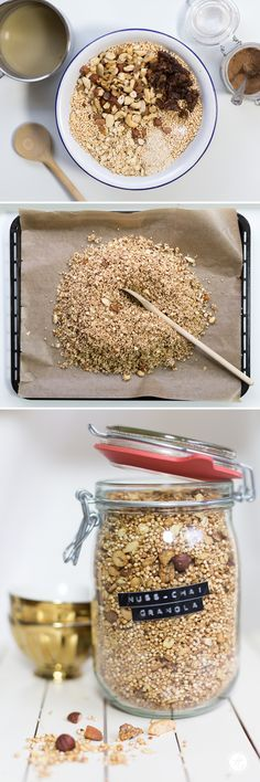 nuss chai granola rezept f r zuckerfreies knusperm sli mit n ssen und chao geschmack von. Black Bedroom Furniture Sets. Home Design Ideas