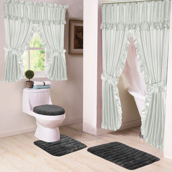 Light Gray Lauren Double Swag Shower Curtain W Available Window