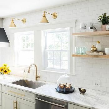 White and Gold Kitchen with Black Range Hood  Gold lamps ao