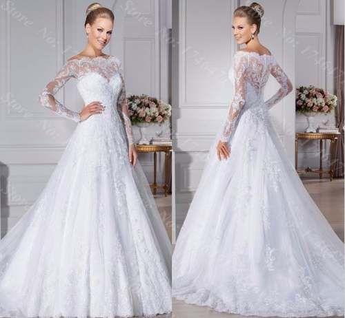 vestido de noiva renda manga longa trabalhado luxo premium
