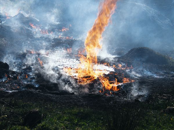 Fire Tornado | Picture of a fire tornado in burning peat in the United Kingdom.