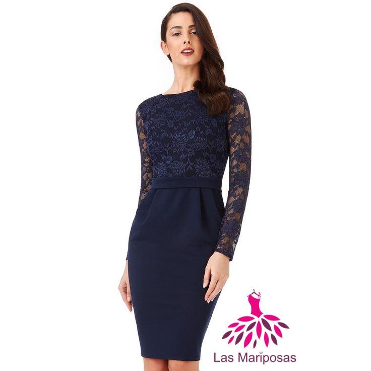 Alba Midi navy δαντελένιο φόρεμα