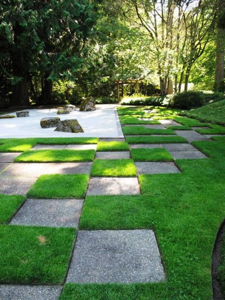 Garden And Lawn , Modern Japanese Garden : Modern Japanese Garden With Concrete Tiles And Grasses And Sand And Stones
