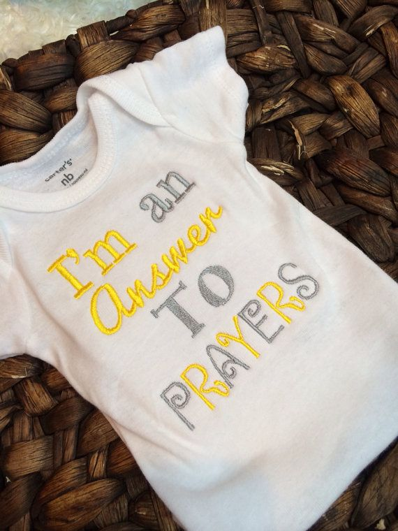 I'm an ANSWER to PRAYERS Onesie by PrettysBowtique on Etsy, $16.00 rainbow baby miracle baby Infertility fertility