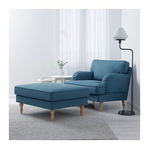 STOCKSUND Armchair, Tallmyra blue, light brown/wood Tallmyra blue light brown