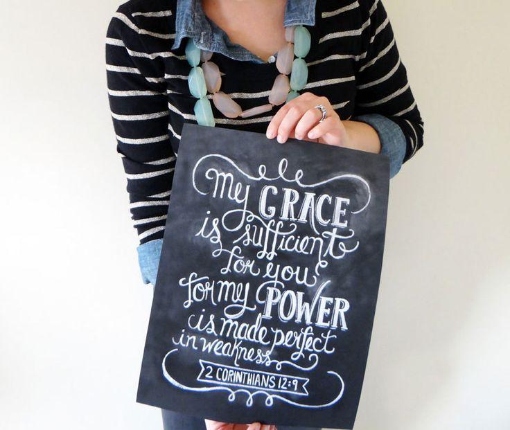 Scripture Art- Chalkboard Art Print- Chalk Art