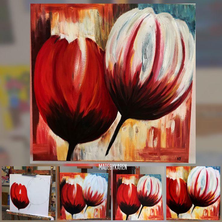 Tulpen. Olieverfschilderij gemaakt.