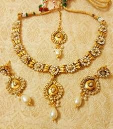 Buy Preety White Delicate Necklace Set With Maang Tikka necklace-set online