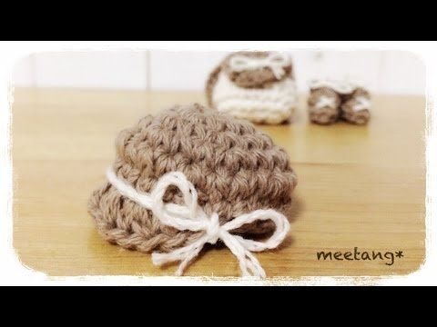 How to crochet a miniature hat(casquette) ミニチュア帽子の編み方(キャスケット風) by meetang - YouTube