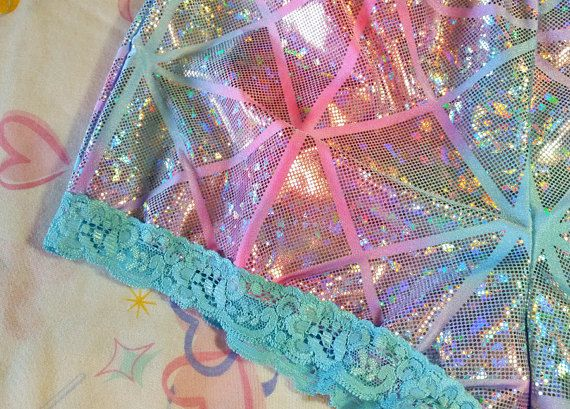 Holographic pastel goth hotpants fairy kei 80s by missalphabet