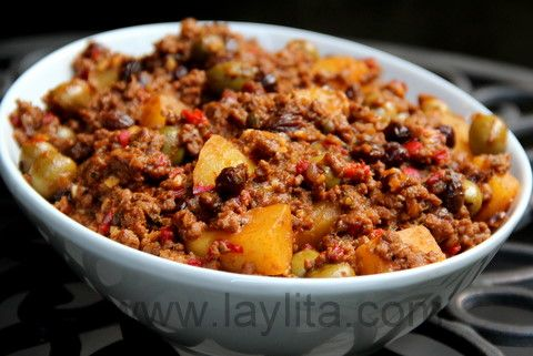 Cuban picadillo recipe ~ Summary: Cuban picadillo is a traditional dish made with ground beef, potatoes, onions, garlic, cumin, bell peppers, white wine, tomato sauce, raisins, olives and capers.