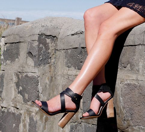 Blake heels - block heel, leather wrap around