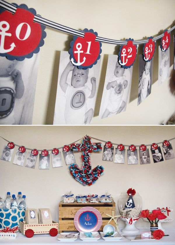 Cute 1st birthday party banner - nautical theme