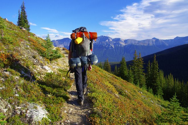 Contouring on a trail around Tekarra Mountain - Skyline trail, Jasper National Park
